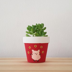 Prosperous Pig Pot with Succulent