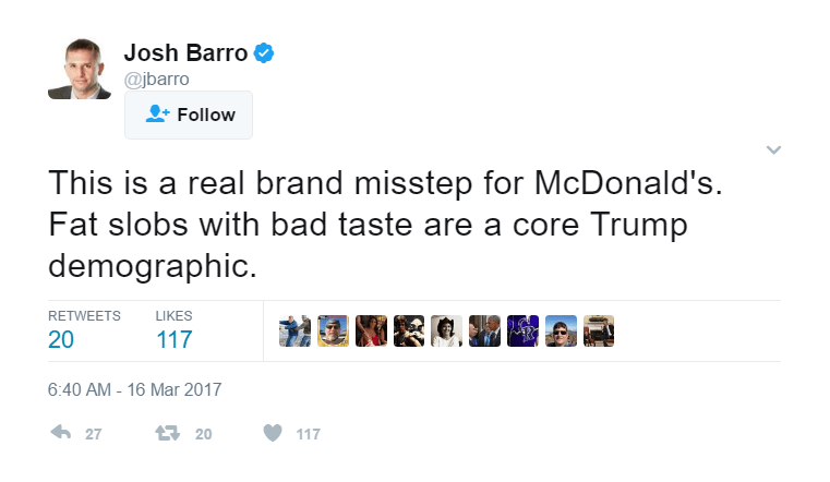 Elitist Assholes Like Josh Barro Helped Make Trump Possible
