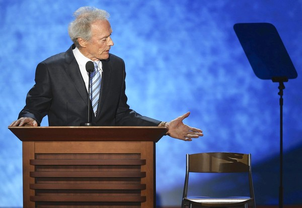 TAMPA, FL - AUGUST 30: Actor/Director Clint Eastwood speaks during the final day of the Republican National Convention at the Tampa Bay Times Forum on August 30, 2012 in Tampa, Florida. Former Massachusetts Gov. Mitt Romney was nominated as the Republican presidential candidate during the RNC which will conclude today. (Photo by Mark Wilson/Getty Images) ORG XMIT: 150795345 ** TCN OUT **