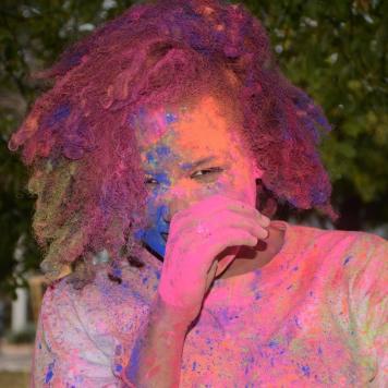 Tori Jonhson wesleyan student participates in the Holi Festival