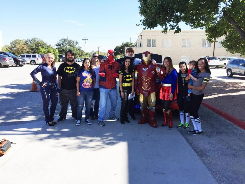 Photo courtesy of Dr. Cary Adkinson. Social Justice Club dresses up as superheros to give a voice for students.