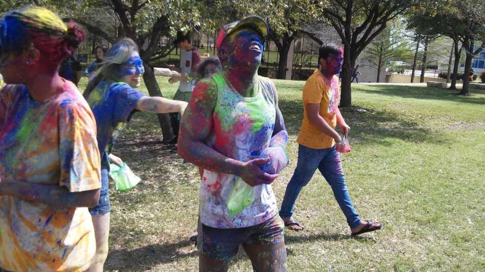 Mathewt Mayfield  enjoyed celebrating the Holi Festival with hellow students. Photo by Rowan Lehr