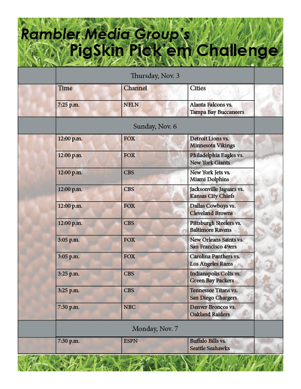 Play Rambler Media Group's PigSkin Pick'em this week for your chance to win a $25 gift card to Raising Cane's Chicken Fingers. To play, email your picks to RMG Editor-in-chief Dalise DeVos at dndevos@txwes.edu by 5 p.m. on Thursday, Nov. 3. The winner will be announced and contacted via email by 5 p.m. Tuesday, Nov. 8.  Flyer by Hannah Onder.