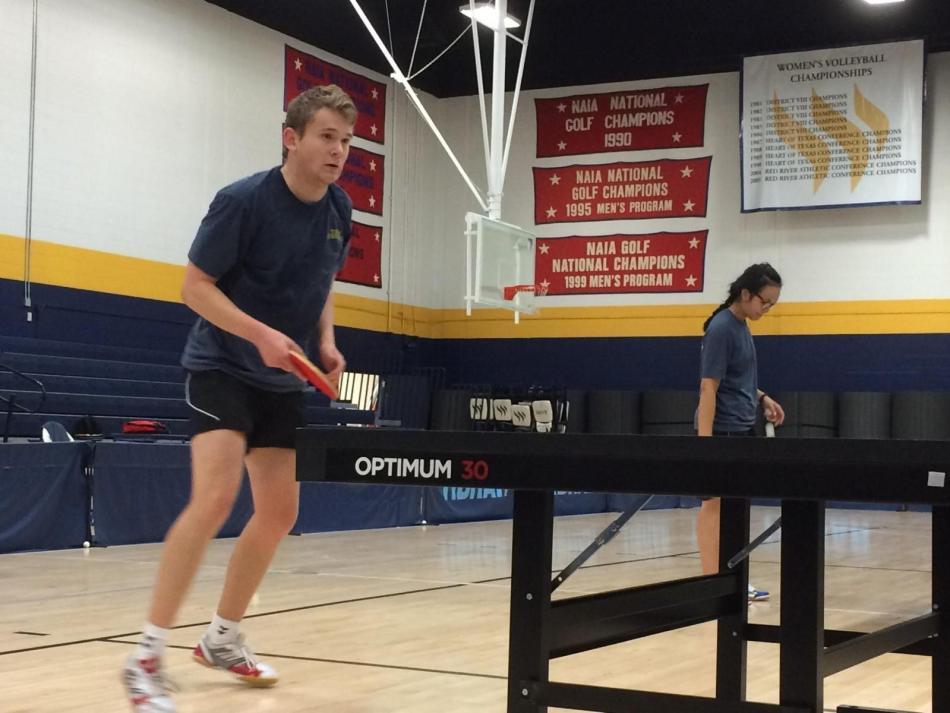 Freshman Marcus Waerstad practices at the Sid W. Richardson gym. Photo by Heather Birge.