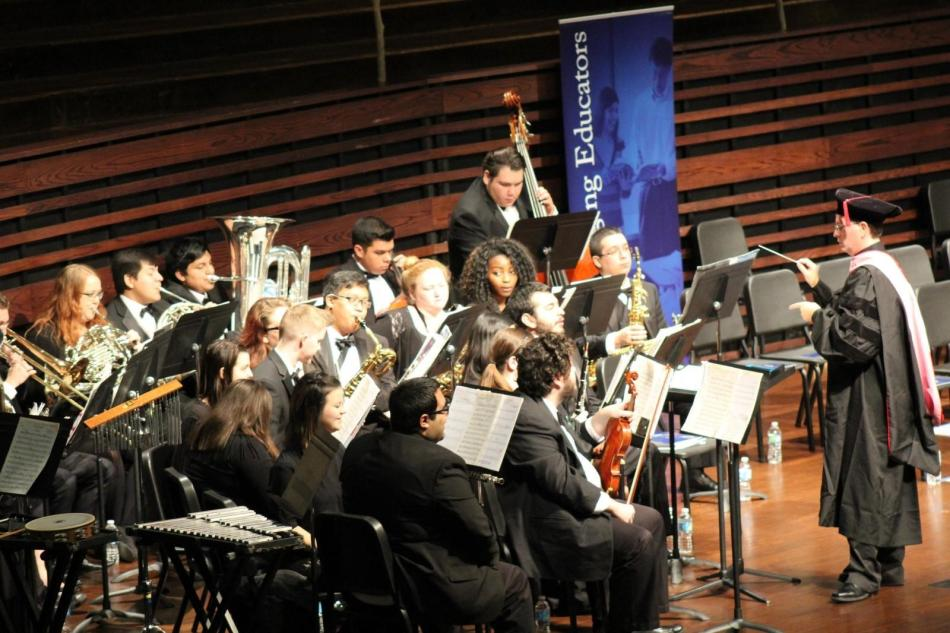 Wesleyan's wind ensemble plays before Saturday's graduation ceremony. Photo by Shaydi Paramore