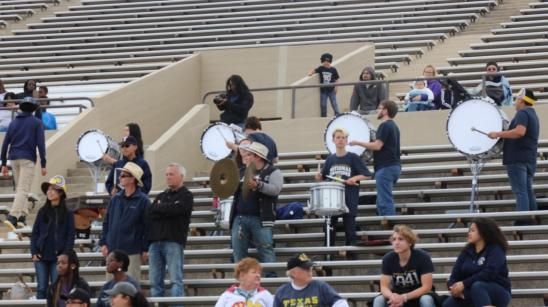 Wesleyan's drumline performing cadences during the Blue and Gold Game. Photo by Matt Smith.