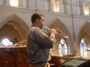 Mr. Malec playing trumpet at the cathedral