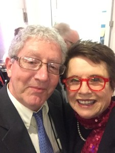 Mr. Peightal poses for a selfie with the former number one tennis player, Billie Jean King