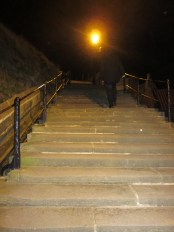 The 199 Steps at night.