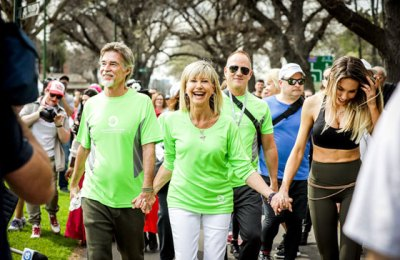 Olivia Newton-John leads the 2019 Wellness Walk & Research Run to raise funds for programs at her hospital in Melbourne, Australia