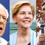 Photo of Sen. Bernie Sanders, Sen. Elizabeth Warren and Mayor Pete Buttigieg