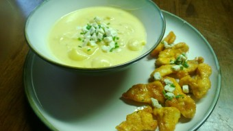 """mac and cheese """"soup"""", buffalo chicken finger bites and blue cheese chive gremolata"""