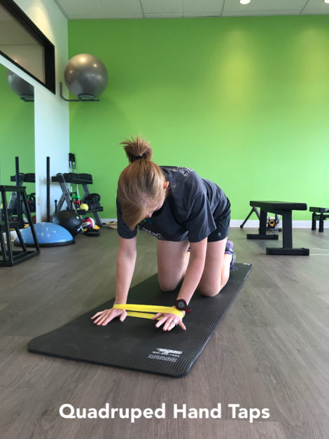 quadruped hand taps resistance band exercise