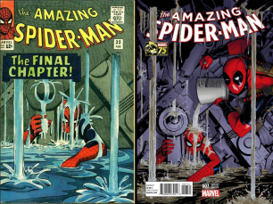 Amazing Spider-Man (2014) #7 Incentive Michael Golden Deadpool 75th Anniversary Photobomb Variant
