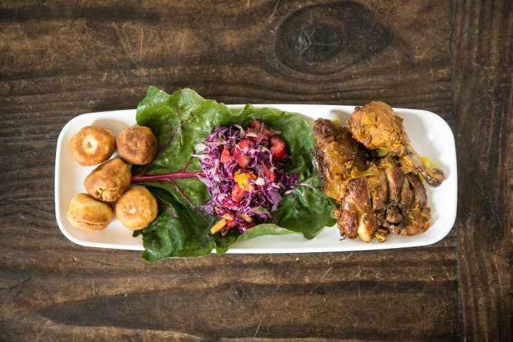 Jamaican BBQ Chicken, Fried Dumplings, Island Salad