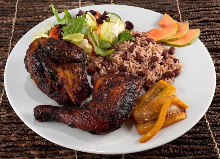 Rundown, Island Salad and Rice & Peas