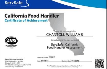 California Food Handler Certificate of Achievement, ServSafe California Food Handler Assessment