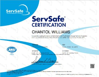 ServSafe Certification for Chantoll Wiliams