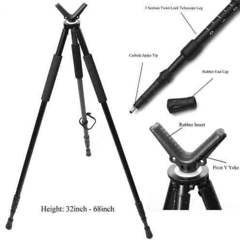 "Hammers Telescopic Shooting Tripod w/ Pivot V Yoke Max. Height 68"""