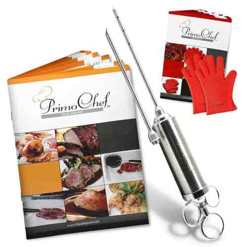 PrimoChef Turkey & Meat Marinade Injector Kit. Stainless Steel 2-Oz. BONUS Grill Gloves, 2 Recipe Books With Delicious Flavor Marinades For Injectors!