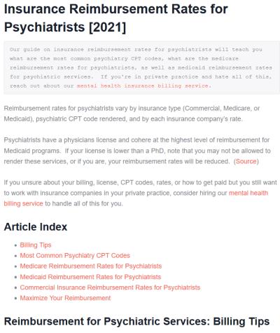 insurance reimbursement rates for psychiatrists article