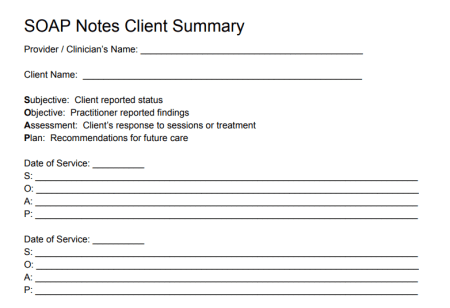 SOAP Notes Template for Mental Health Providers