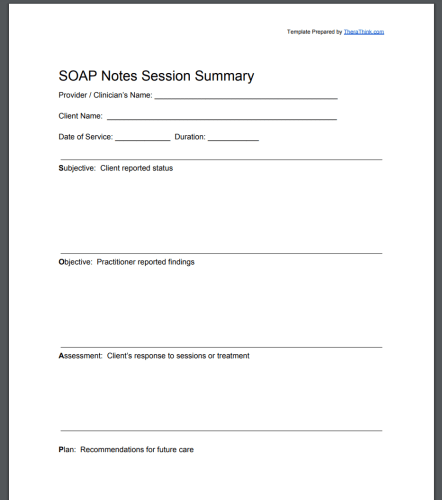 SOAP Notes Template PDF