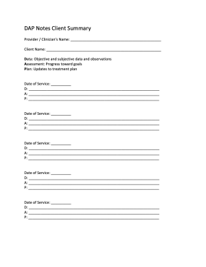 DAP Notes Client Summary Template