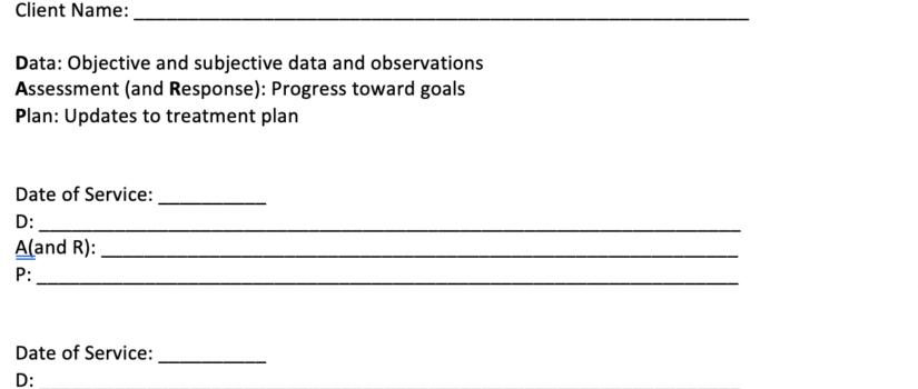 DARP Note Client Summary 2