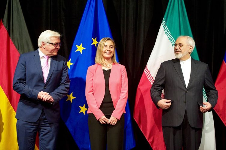 German Foreign Minister Steinmeier, EU High Representative Mogherini, and Iranian Foreign Minister Zarif. Public Domain image.