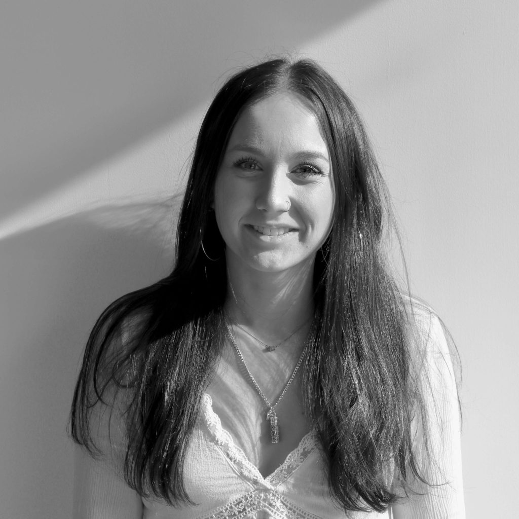 Black and white image of Abbie Ashford
