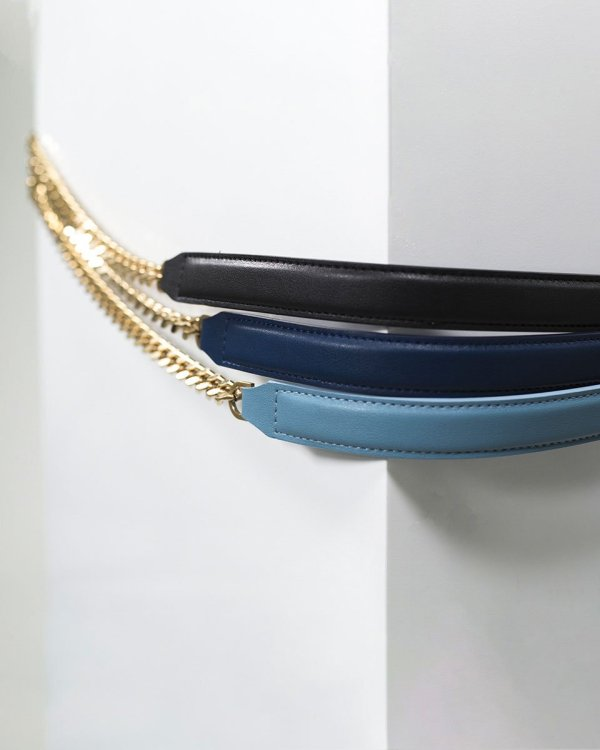 Crossbody vegan leather chain for Pouch