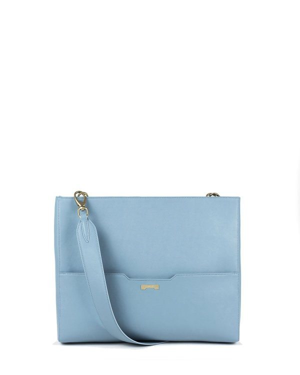 The perfect laptop bag for women in light blue vegan leather