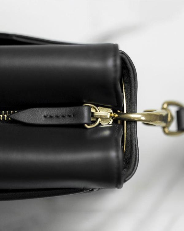 Perfect pouch in black ecofriendly vegan leather gold accessories