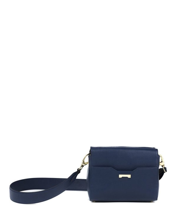 Crossbody pouch in navy sustainable vegan leather