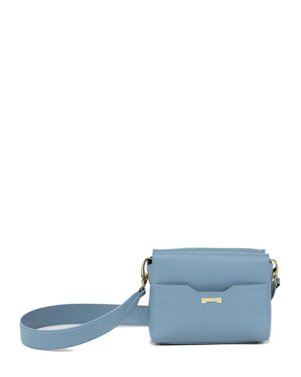 Crossbody pouch in pastel blue sustainable vegan leather