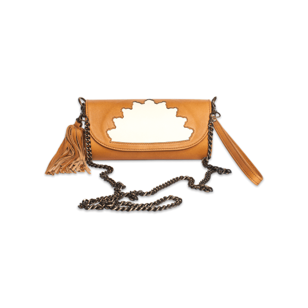 abury Rehana Camel Leather Clutch Bag front shot with crossing body metal strap