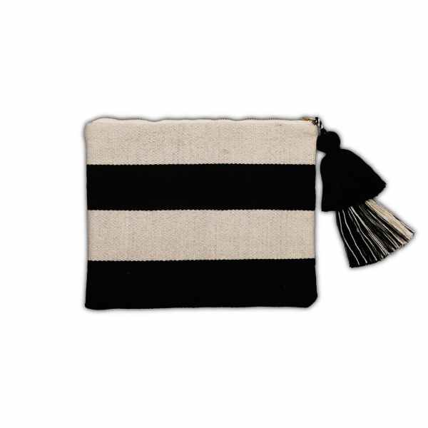 Black and White Cotton Pouch with Horizontal Stripes from Peru