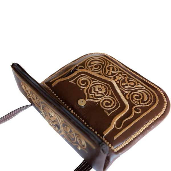 limited edition open view of brown and beige embroidered ABURY Leather Berber Shoulder Bag