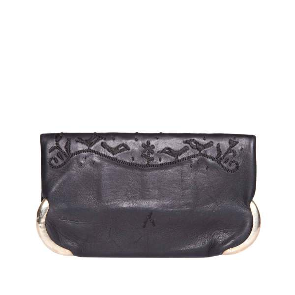 back view abury black lovebirds clutch bag