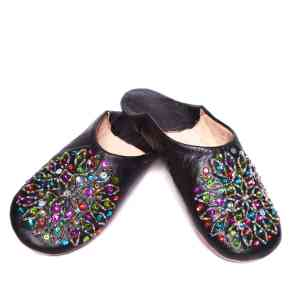 black sequinned abury leather babouche leather slippers