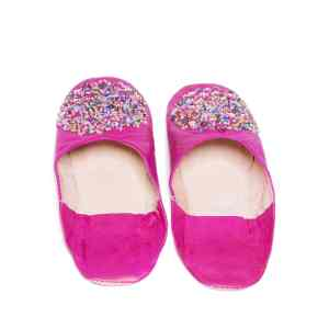 back side pink sequinned abury leather babouche leather slippers