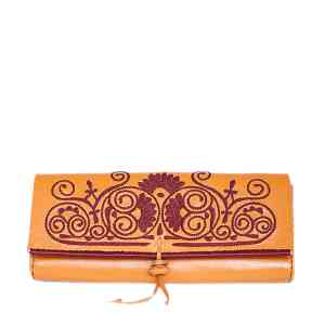 front view of handmade ABURY ORANGE AND DARK RED LEATHER CLUTCH BAG