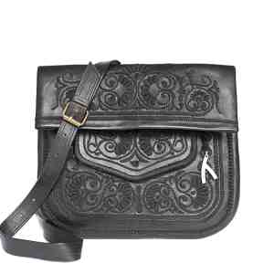 front view of black handmade embroidered ABURY Leather Berber Shoulder Bag