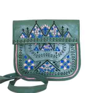 front view of Green Patterned embroidered ABURY Leather Berber Shoulder Bag