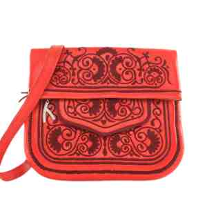 front view of red embroidered ABURY Leather Berber Shoulder Bag
