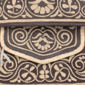 close view on embroidery of Brown and Beige Leather Berber Bag - Shoulder Bags - ABURY Collection