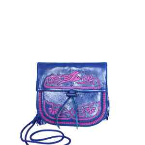 ABURY DARK BLUE AND PINK LEATHER MINI handmade BERBER BAG