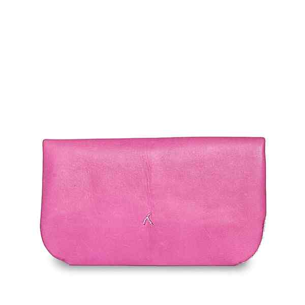 backside pink leather abury clutch bag with salam embroidery