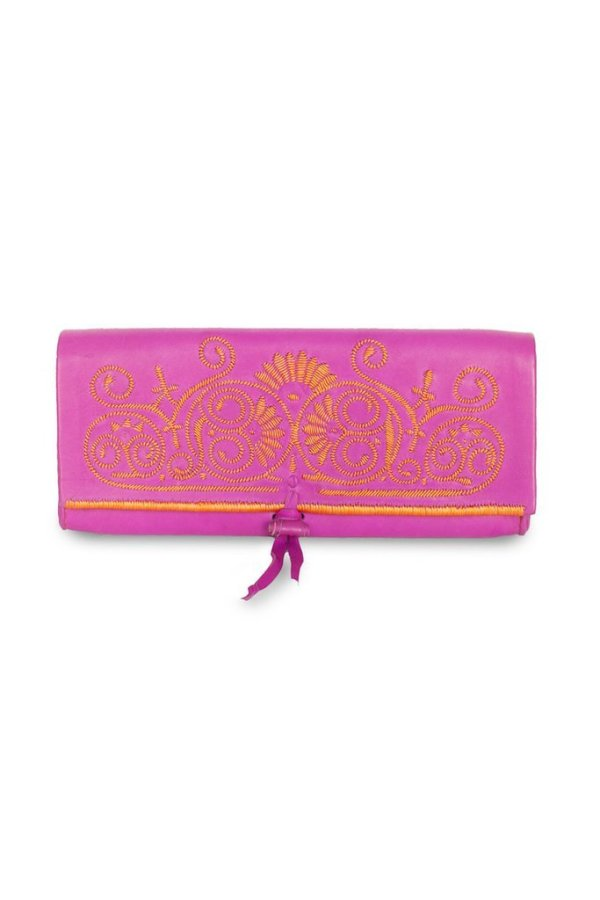 front view handmade Pink and Orange Leather Clutch Bag | ABURY Collection - Clutch Bags - ABURY Collection